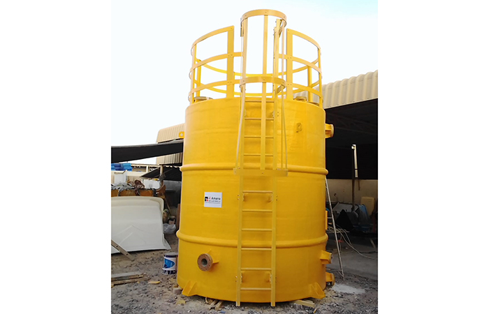 Grp chemical tank with hand rail and ladder